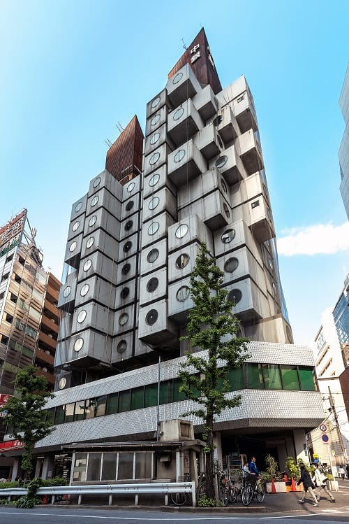 The exterior of the Nakagin Capsule Tower.
