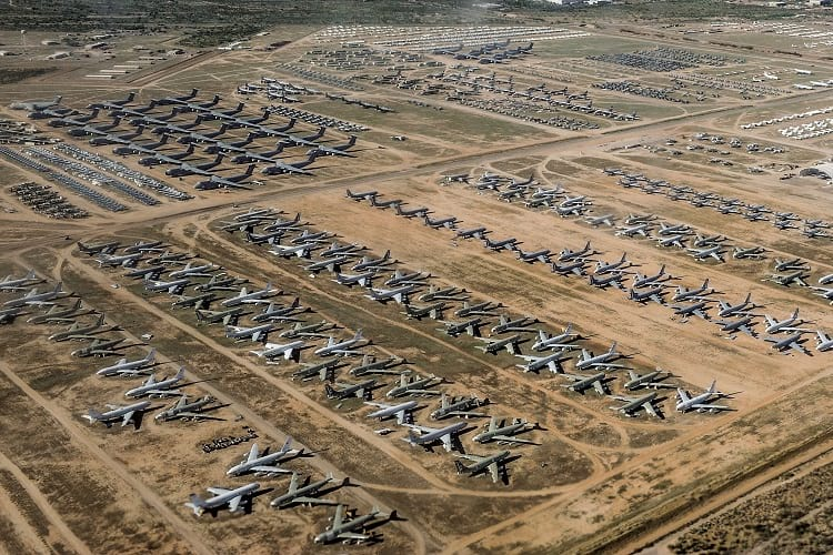 Aerial Photo of retired military planes