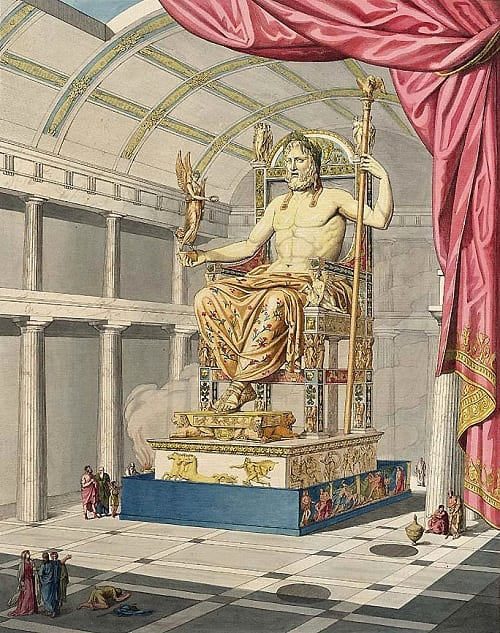 Statue of Zeus at Olympia, one of the Seven Wonders of the Ancient World.
