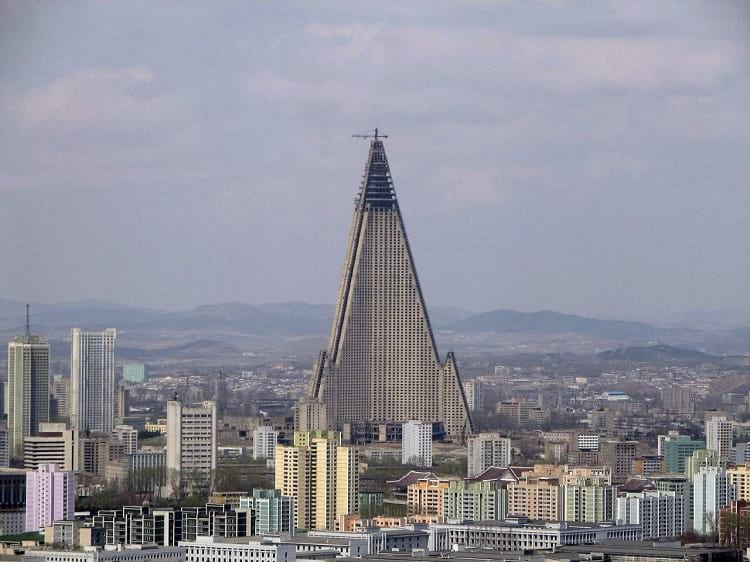 Ryugyong Hotel during construction
