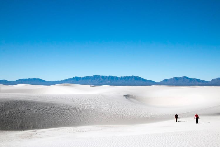 Hiking at White Sands National Monument.