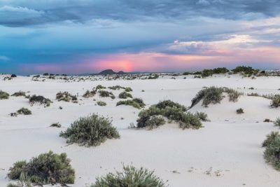 Sunset at White Sands National Monument.