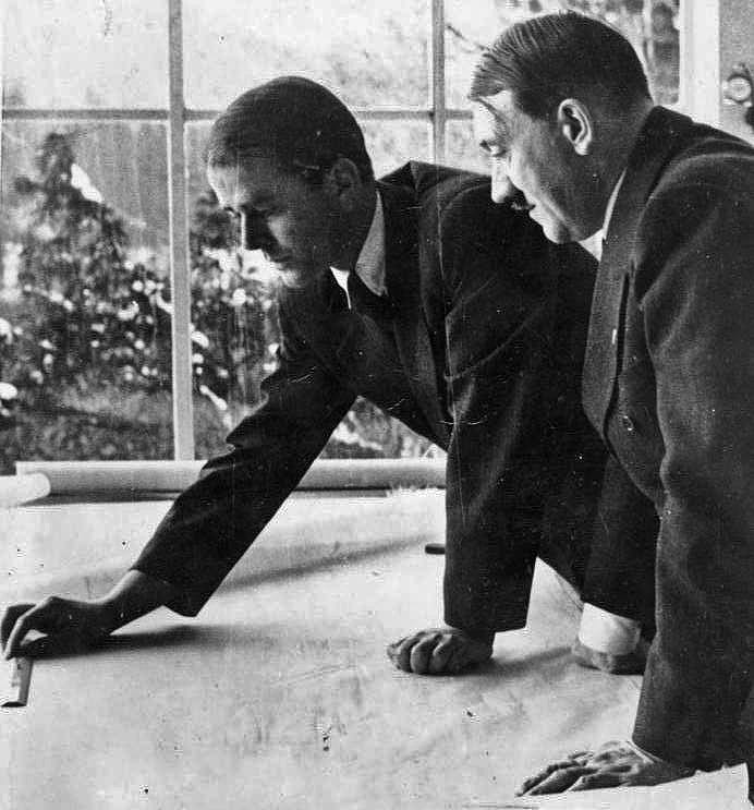 Albert Speer and Adolf Hitler discussing about Project Riese.