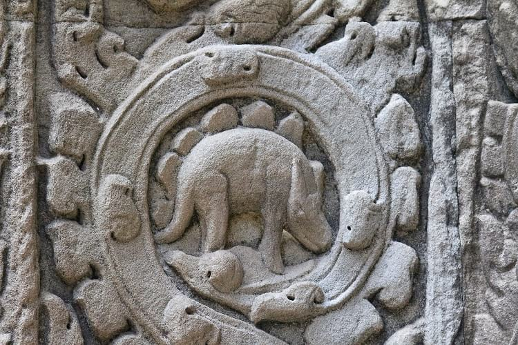 Carving of an alleged dinosaurs at Ta Prohm Temple