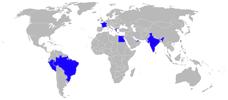 Countries that use Mirage 2000
