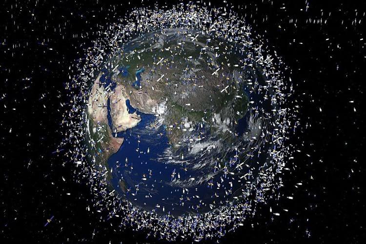 An illustration of space debris