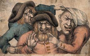 Art work of three ugly men