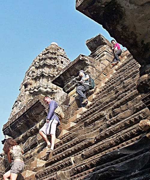 Steep steps to reach the third level of the Angkor Wat.