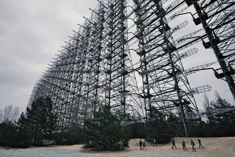 Tourist visiting Duga radar