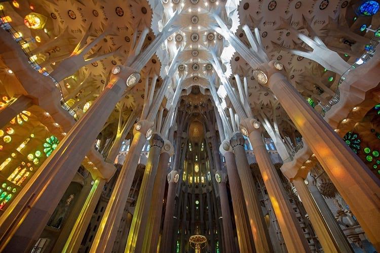 The interior of Sagrada Familia.