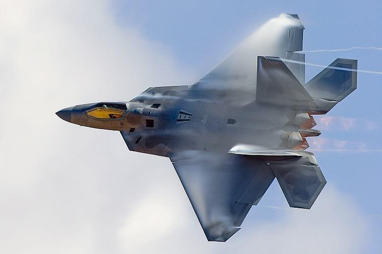 Lockheed Martin F-22 Raptor during flight.