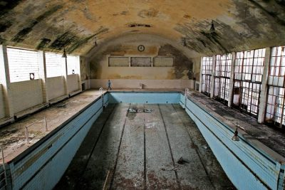 Abandoned swimming pool at Olympic Village