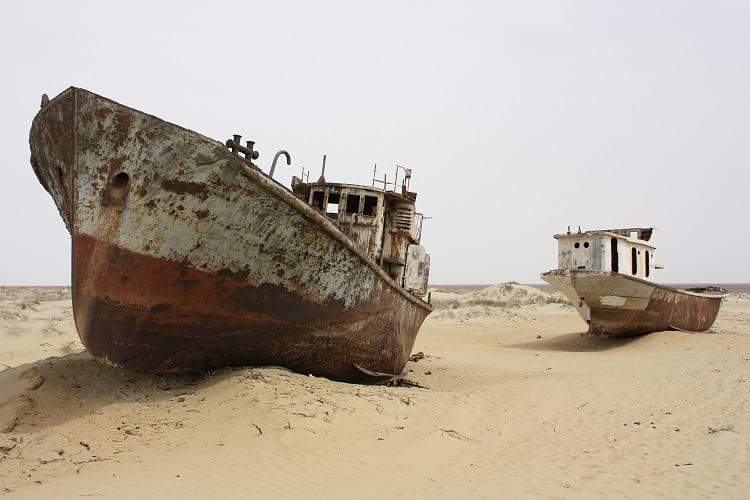 Abandoned ships at Aral sea