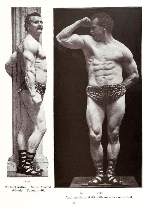 Eugen Sandow flexing his triceps and biceps.