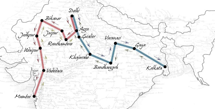 Maharajas' Express route map
