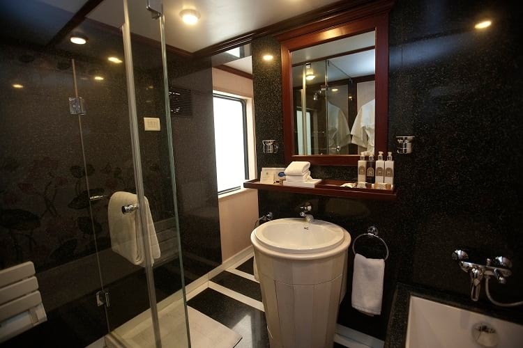 A bathroom from one of the suite in Maharajas' Express.