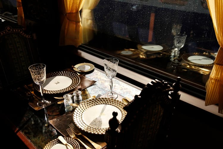 Cutlery and tableware in Maharajas' Express.