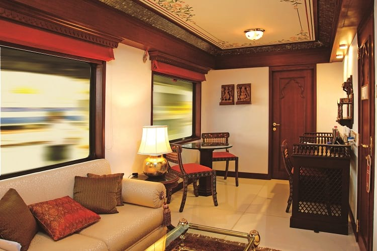 Lounge of presidential suite in Maharajas' Express.
