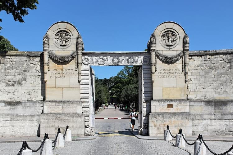 The main entrance of Pere Lachaise Cemetery.