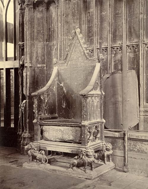 Coronation chair with Stone of Scone.