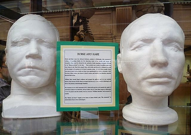 Burke and Hare: Death mask of Burke (left) and life mask of Hare (right).