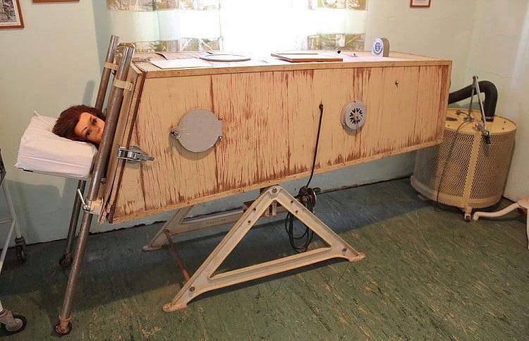 A wooden version of iron lung.