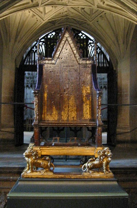 The coronation chair without the stone of scone.