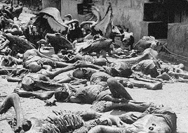 Vultures feeding on human remains during the Bengal famine.