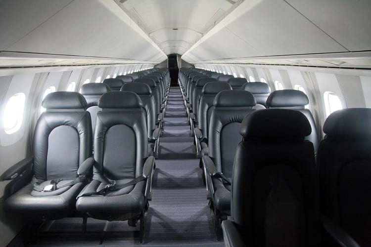 The passenger section of Concorde Jet.