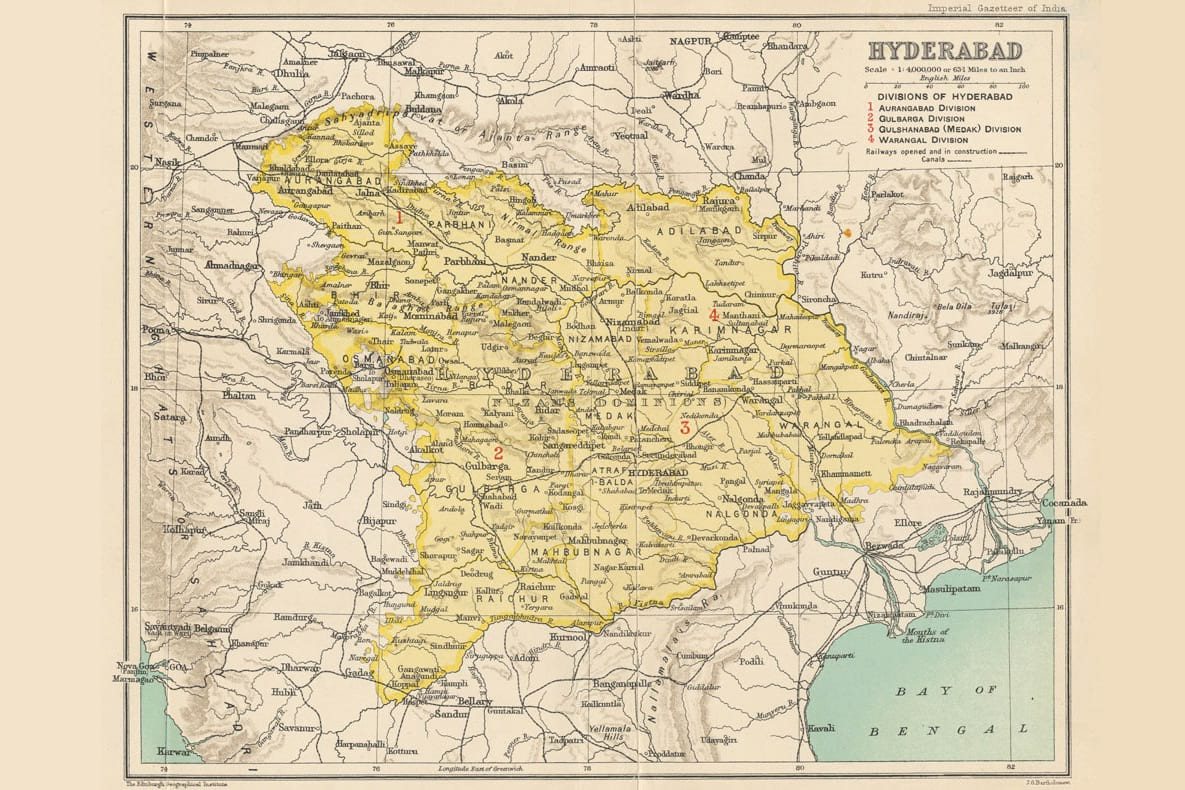 Hyderabad state map in 1909.