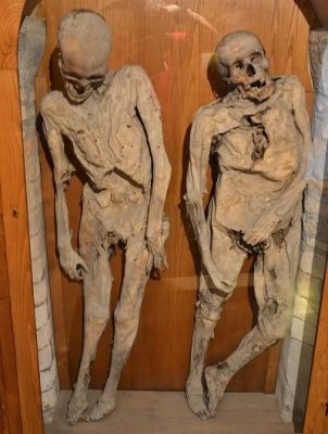 Mummies on display in the Church of the Dead.