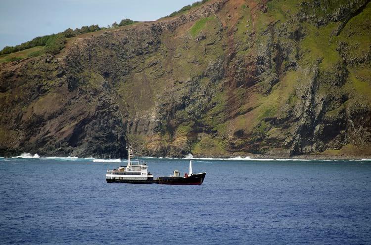 A supply ship approaching Pitcairn Island.