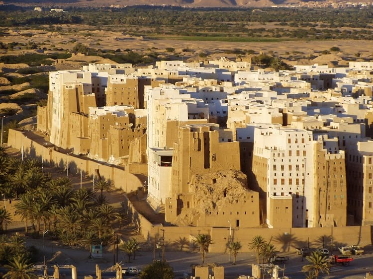 Shibam surrounded by a wall.