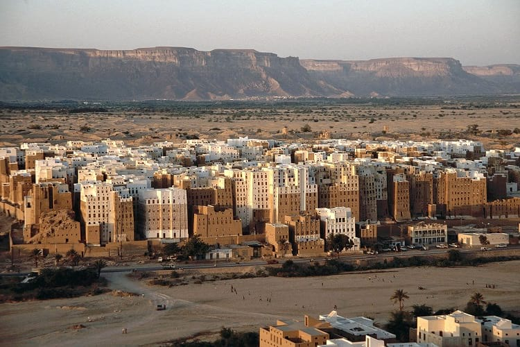Shibam: The high-rise buildings made of mud-bricks.