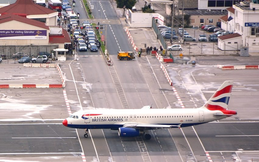 The runway of Gibraltar International Airport.