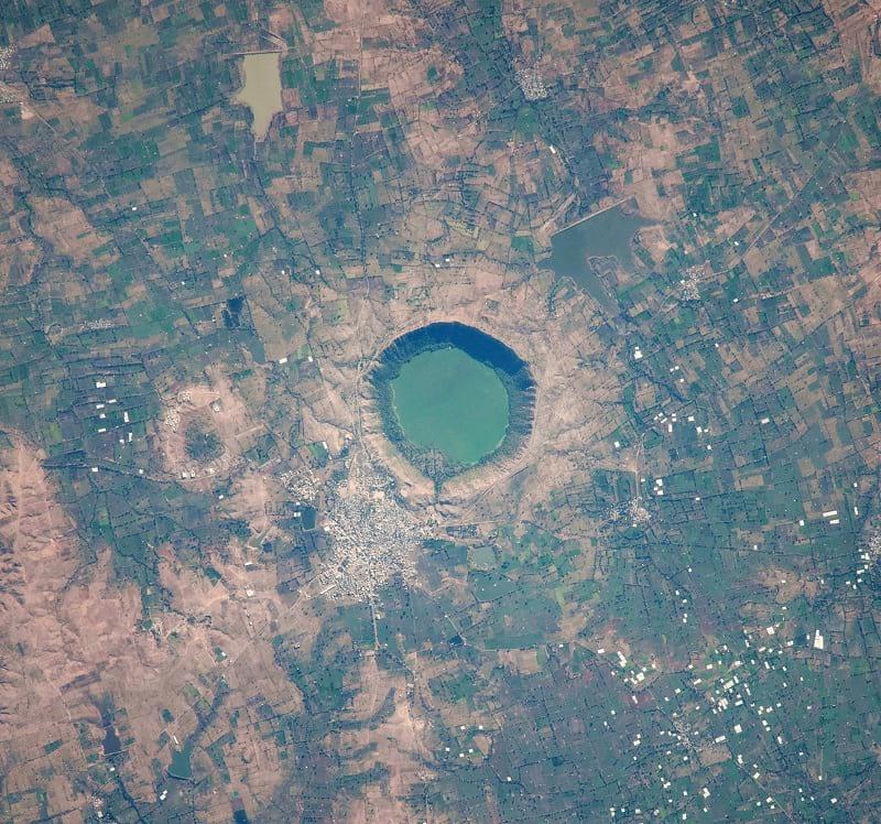 Satellite photo of Lonar Lake. (NASA)