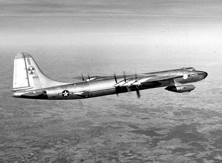 The Convair NB-36H with radiation warning symbol.