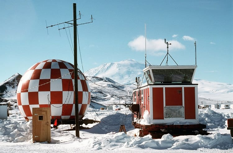 Radar and air traffic control equipment near the McMurdo Station.