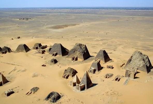 Aerial photo of the pyramids of Sudan.
