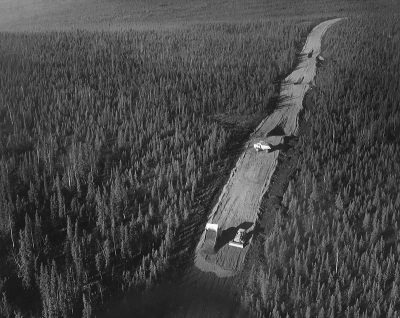 Road construction for the Trans-Alaska Pipeline System.