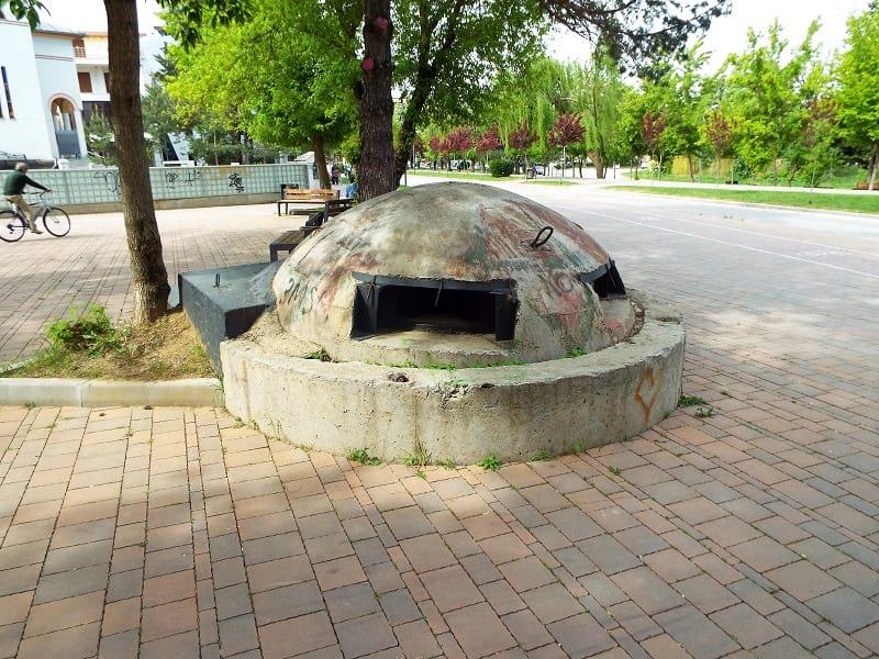 Bunkers in park, Albania.