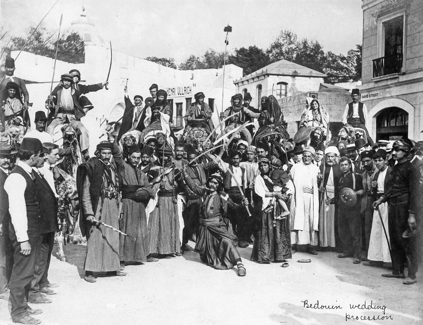 A Bedouin wedding procession.
