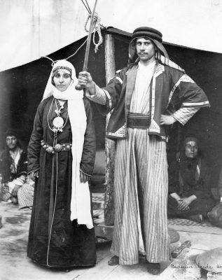 A Bedouin bride and groom in their tradition attire.
