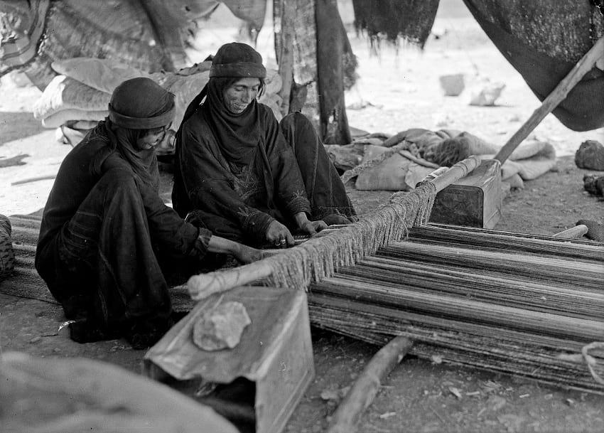 Bedouin women weaving.