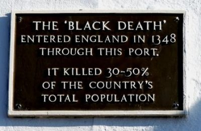 Plaque in Weymouth, England about Black Death.