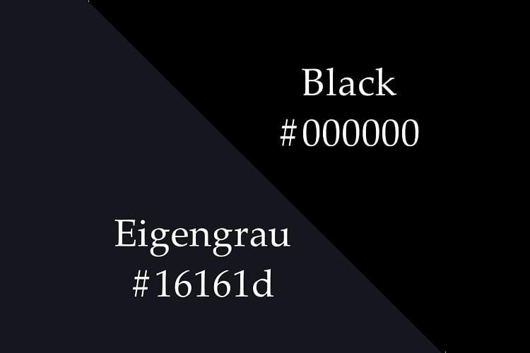 Eigengrau vs. the black colour.