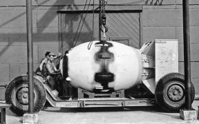 Fat Man atomic bomb on a trailer.