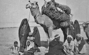 A group of Bedouins along with their camel.