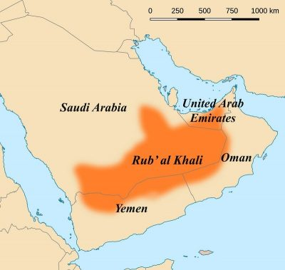 A map showing the extent of Rub' al Khali.