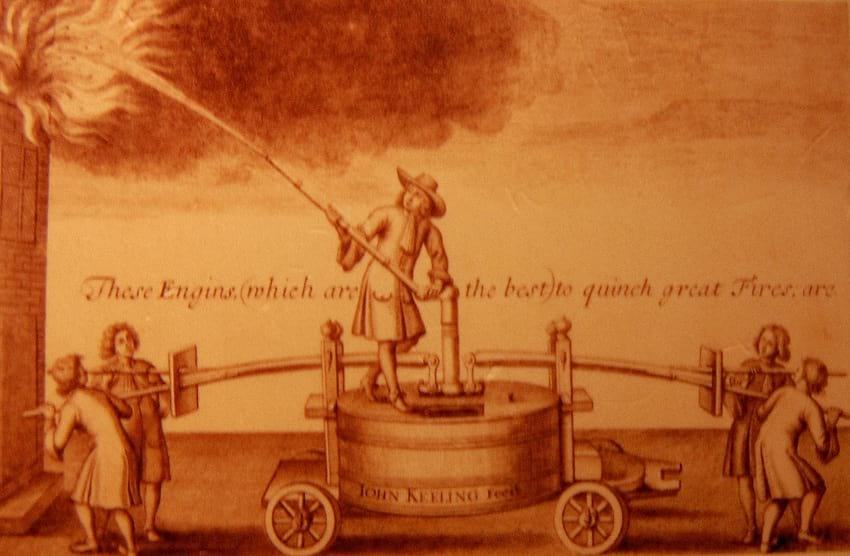 Illustration of 17th century fire engine.